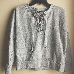 Harlowe & Graham Gray Lace Up Sweatshirt